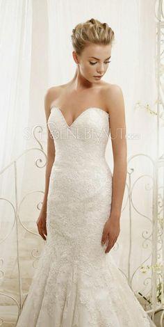 Meerjungfrau Brautkleider mit Balero Trägerlos Hochzeitskleider mit Spitze [#UD9149] - schoenebraut.com