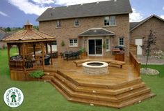 There are huge numbers of home, which have stunning and beautiful gazebo deck on backyard. These gazebo decks are made to give extension to the living space on… Patio Deck Designs, Pergola Design, Patio Design, Gazebos, Deck Plans, Gazebo Plans, Diy Deck, Decks And Porches, Building A Deck