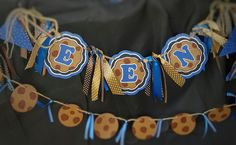 Cookie monster 1st birthday table bunting
