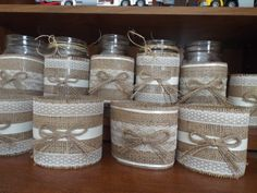 10 Burlap Mason Jar Sleeves, DIY Wedding Decorations, Rustic Wedding Decorations, Burlap and Lace  Ask a question