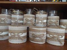 10 Burlap Mason Jar Sleeves, DIY Wedding Decorations, Rustic Wedding Decorations, Burlap and Lace Ask a question