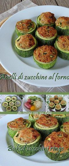 Gli anelli di zucchine al forno con ripieno saporito sono una buona soluzione per utilizzare al meglio le zucchine grandi. #zucchine #zucchini #italianfood