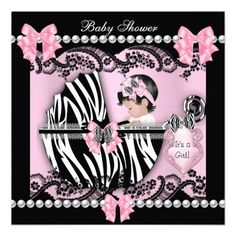 Baby Shower Cute Pink Zebra Lace Invites 1 90 Showers S