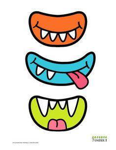 """Ideia para festa infantil Monstros S/A - Diversos tipos e cores de bocas, narizes, olhos e chapéus ou cabelos para que cada criança """"monte"""" seu monstro"""