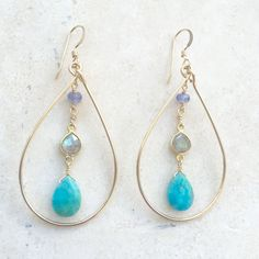 Faceted turquoise drop, bezeled labradorite, tanzanite within handmade hoop. A lovely new piece for your collection! Available in only 14K gold fill