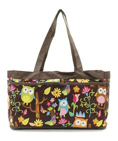 Cute for nursing bag or a diapet bag Owl Print Caddy Tote Bag with Pockets  by maggiesembroidery, $26.95