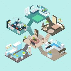 Buy Isometric Rooms Composition by VectorPot on GraphicRiver. Isometric rooms composition on different floors with stairs in each room integrated in the living room vector illustr. Isometric Map, Isometric Drawing, Isometric Design, Whale Illustration, House Illustration, Art Room Doors, Room Art, Room Decor, Living Room Vector