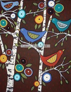 Four Birds in Birches - Karla Gerard Portfolio Gallery | ArtWanted.com