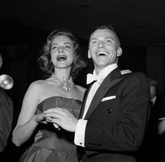 Frank Sinatra and Lauren Bacall making a personal appearance for a fundraising event -1955