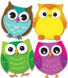 Express your contemporary sense of style by decorating your classroom with the Colorful Owls assorted mini Colorful Cut-Outs(R). This multipurpose set features 36 owl cut-outs in a variety of colors t Owl Crafts, Crafts For Kids, Arts And Crafts, Paper Crafts, Owl Classroom Decor, Classroom Themes, Classroom Labels, Classroom Teacher, Classroom Door
