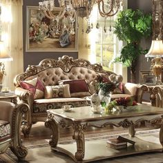 Acme Furniture Vendome Sofa with Pillows in Gold Patina and Bone (FFabric)