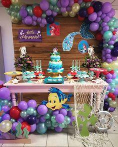 The Little Mermaid Theme Birthday Party Dessert Table and Decor Mermaid Theme Birthday, Little Mermaid Birthday, Little Mermaid Parties, The Little Mermaid, Kids Party Themes, Birthday Party Decorations, Party Ideas, Mermaid Balloons, Little Mermaid Balloon Decorations