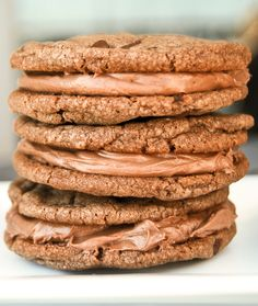 Nutella Sandwich Cookies with a Creamy Nutella Filling!  #Cookies #Nutella