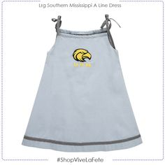 Southern Miss Golden Eagles embroidered strap dress in chambray by Vive La Fete Collegiate Style: Officially Licensed Product Adjustable tie shoulder straps. Southern Miss Golden Eagles, Shoulder Straps, Mississippi, Chambray, Contrast, Tie, Check, Shopping, Collection