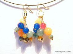Small earrings ears multicolored semiprecious stone beads. de la boutique LaFabriqueDeLoulette sur Etsy