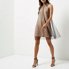 Nude and mesh pleated halter neck dress - swing dresses - dresses - women