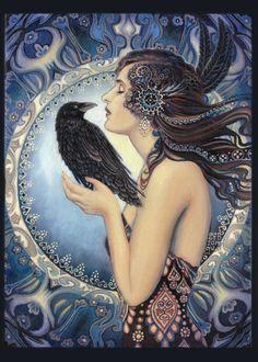 Diosa 5 x 7 tarjeta de felicitación mitología pagana bruja Psychedelic de Nouveau del arte gitano bohemio diosa arte de Raven