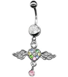 Multi-Color Pave Heart Angel Wings Belly Ring-Wings with Heart Dangle Belly Ring-14g Navel Ring at BodySparkle.com