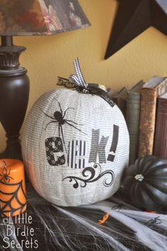 Decoupage a pumpkin with newspaper print!