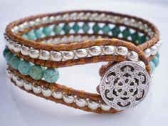 beautiful leather and bead bracelet