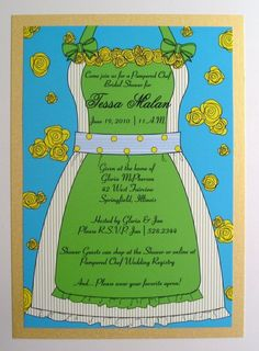 4fa65909d6b4 Items similar to Pampered Chef Themed Apron Bridal Shower Invitation on Etsy