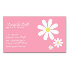Daisies on Pink Business Cards