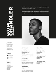 We present you Lester. A minimalist and creative template perfect for creative job like: videogapher, art director, photographer,. Lester contains three pages. Web Design, Game Design, Resume Words, Resume Cv, Resume Writing, Modern Resume Template, Resume Templates, Best Cv Template, Resume Design Template