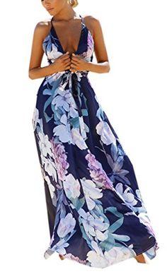 WOZNLOYE Donna Vestito Elegante V Collo Vestitino Lunga Floreale Abito da  Spiaggia schiena nuda Vestiti Halterneck 73f95073a1d