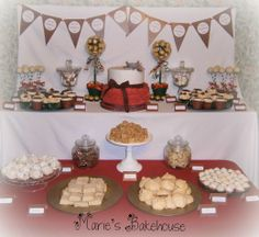 70th birthday tartan/Scottish themed dessert table  www.mariebakehouse.co.uk www.facebook.com/MariesBakehouse Scottish Desserts, 70th Birthday, Dessert Table, Tartan, Table Decorations, Facebook, Home Decor, Decoration Home, Bar Cart