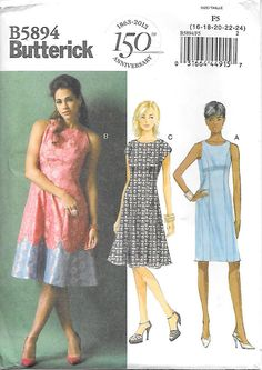 Butterick 5894 UNCUT Misses Princess Seam Dress Sewing Pattern