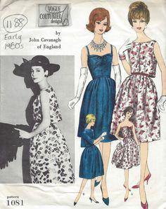 1960s Vintage VOGUE Sewing Pattern B34 DRESS & BOLERO (1188) BY JOHN CAVANAGH