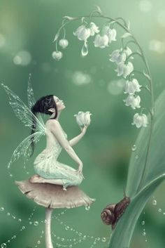 'Lily of the Valley Flower Fairy' Art Print by Rachel Anderson Fantasy World, Fantasy Art, Fantasy Fairies, Fantasy Love, Real Fairies, Lily Of The Valley Flowers, Fairy Pictures, Love Fairy, Beautiful Fairies