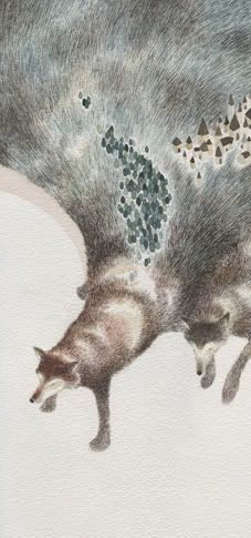 """Wolves Carry A Village, 2008, 27 x 58 cm.  """"The landscape is changing at every wolve´s [sic] step. A poster illustration for Holmes."""" Anna Emilia Laitinen is an illustrator from in Leppävirta, a small town in Finland."""