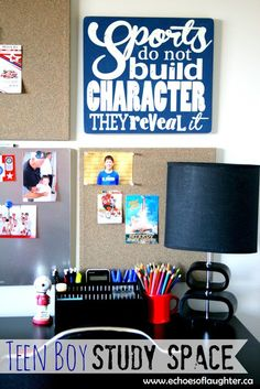 Teen Boy Study Space-love this teen boy's study space!