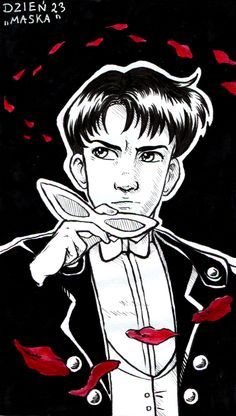 Inktober Day 23 by Annorelka on DeviantArt Tuxedo Mask, Make Pictures, Red Accents, Character Description, Drawing Tools, Inktober, Sailor Moon, Comic Books, Animation