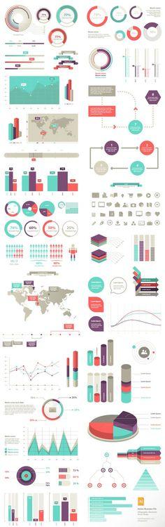 グラフ・インフォグラフィック素材 100 Infographic Elements (Vector)