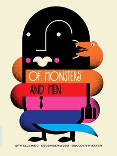 Of Monster And Men by Dan Stiles ( Concert Poster / Show Poster / Screen Print / Graphic Design / Art / Music ) #WOWmusic