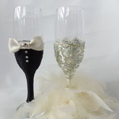 BRIDE and GROOM Decorated Wedding Glasses Mr & by DesignedByDeeUK