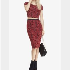 Red and black crop top with matching pencil skirt Never worn cute outfit with stretch material so very comfy  Express Tops Crop Tops