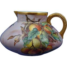Jean Pouyat (JP) Limoges Peach Motif Pitcher (Signed 'V.P.'/Dated 1904)
