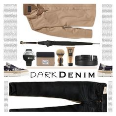 """""""Menswear Essential: Dark Denim"""" by mangoexotic ❤ liked on Polyvore featuring Hollister Co., American Rag Cie, Valentino, Klokers, Herschel Supply Co., Alexander McQueen, The Art of Shaving, J. Paul, Vance Co. and Oris"""