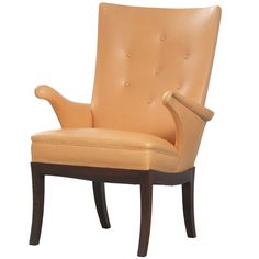 Frits Henningsen Leather Armchair | From a unique collection of antique and modern armchairs at http://www.1stdibs.com/furniture/seating/armchairs/