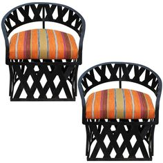 """Downtown - Pair of """"Equipal"""" Iron Lounge Chairs"""