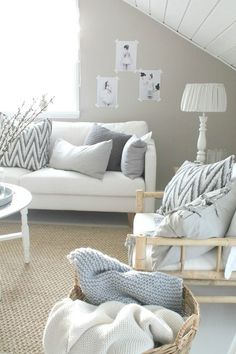 ♥️ Scandinavian living room gray and white Decor, Living Room Inspiration, Living Room Shades, Home And Living, Home Living Room, Interior, Coastal Living Rooms, House Interior, Home Deco