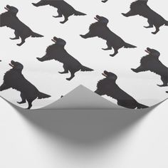 Flat-Coated Retriever Dog Breed Illustration Wrapping Paper