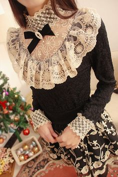 Morpheus Boutique - Black White Lace See Through Floral Bow Long Sleeve Shirt
