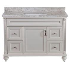 Home Decorators Collection Annakin 48 in. Vanity in Cream with Stone Effect Vanity Top in Winter Mist