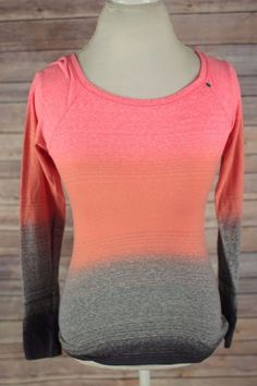 American Eagle Outfitters Womens Top size S/P Orange & Gray Long Sleeve Shirt  #AmericanEagleOutfitters #Blouse #Casual