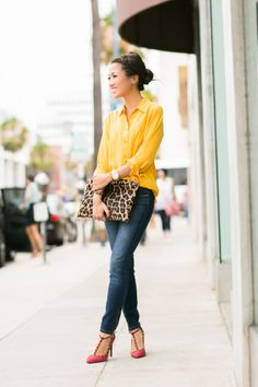 Weekend Leopard :: Zip ankle jeans - great weekend idea. Flat shoes? More comfortable for me. Probably work.