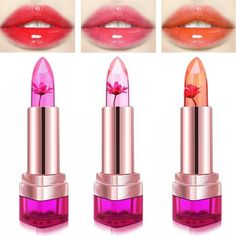 3 Colors Jelly Flower Temperature Change Lipstick Lip Gloss Balm Moisturizing No Fade Nonstick Online - NewChic